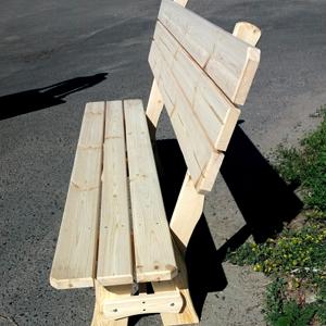 Деревянная лавка прямая не крашеная со спинкой 1